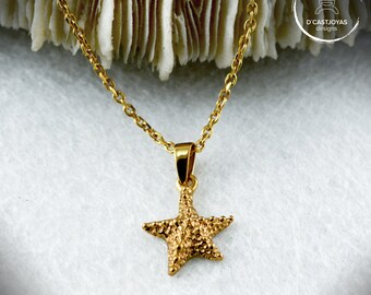 14k gold  tiny starfish pendant, Mother's Day Gift, Gold starfish charm, Ocean jewelry