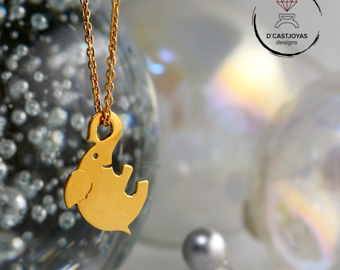 22k gold plated lucky elephant pendant, Rose gold plated elephant necklace, Pink elephant, Happy Elephant pendant, Cool Christmas gift