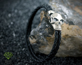 Sterling silver skull bracelet with black leather, Cool gift for dad