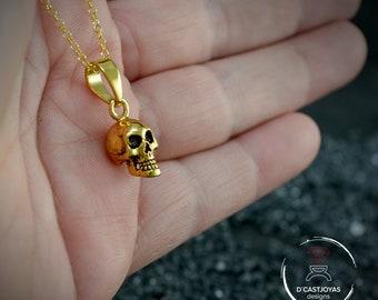 Gold plated skull pendant, Silver skull charm,  Gothic jewelry, Memento mori, Handmade pendant. Punk jewelry