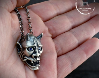 Silver Japanese Oni Mask,  Hannya mask necklace with stones