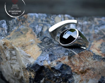Sterling adjustable ring, Ring with black stone, Contemporary jewelry, Ring with purple stone, Handcrafted ring, Contemporary, Urban jewelry