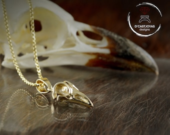 Solid gold skull raven pendant, 14K and 18k gold crow with black rhodium plated