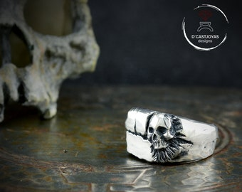 Sterling Silver signet large skull ring, Square signet ring for men, Badass jewelry, Cool man ring, Handmade ring