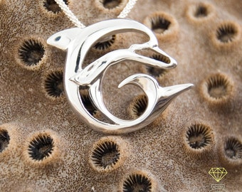 Dolphin silver pendant, Handmade pendant, Ocean jewelry, Talisman pendant