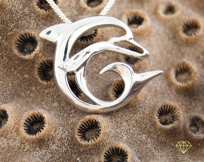 Dolphin silver pendant, dolphin charm pendant, Silver man pendant, Handmade pendant, Sea jewelry, Talisman pendant, Ocean jewelry