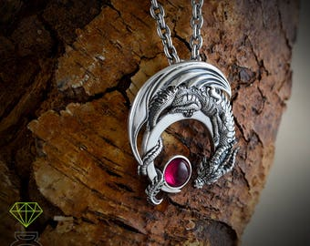 Sterling Silver Dragon Pendant with gemstone, Games of Thrones inspired necklace, Geek jewelry, Halloween jewelry