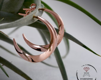 Rose gold plated hoop earrings, Sterling silver hoop earrings, Half Moon earrings, Crecen Moon stud, Contemporary jewelry, Urban style