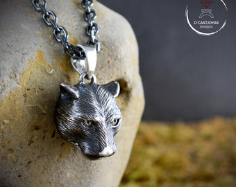 Silver feline pendant for men and women, Father Day gift