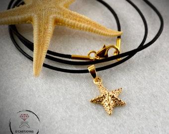 18k gold starfish pendant, Cool Valentines gift, Five star pendant, Craft pendant, Ocean jewelry, Boho style, Unisex jewelry