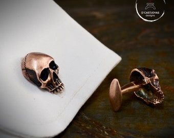 Bronze skull Cufflinks with oxidised finish,  Wedding gift, Men's Cufflinks, Skull Cufflinks, Gothic Jewelry, Biker jewelry
