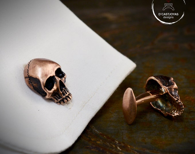 Bronze skull Cufflinks with oxidised finish, Cool Christmas gift, Men's Cufflinks, Skull Cufflinks, Gothic Jewelry, Biker jewelry