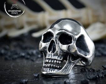 Solid Silver big skull ring men, Memento mori ring, Biker ring
