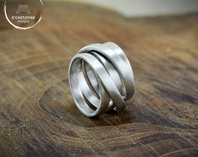 Silver Infinity band ring, Silver ring continuous thread, Infinite loop ring, Adjustable ring, Original wedding rings, Contemporary jewelry