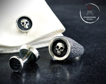 Custom set solid  silver signet skull ring and cufflinks with hammered textures and oxidised finish