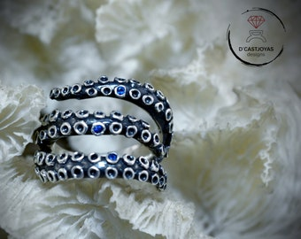 Silver octopus statement ring with natural stones