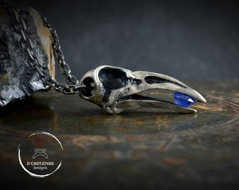 Sold silver Skull raven pendant with natural blue stone, Odin pendant