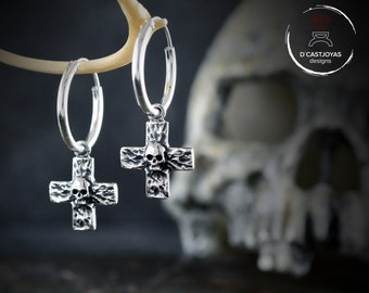 Silver cross hoop earring with skull and hammered textures, Skull hoop earring for men and woman