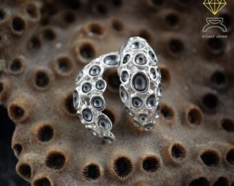 Coral Silver earrings, Silver open hoops, Beach earrings, Coral Porite, Sea jewelry, Unisex earrings, Gift for her, Handmade earring