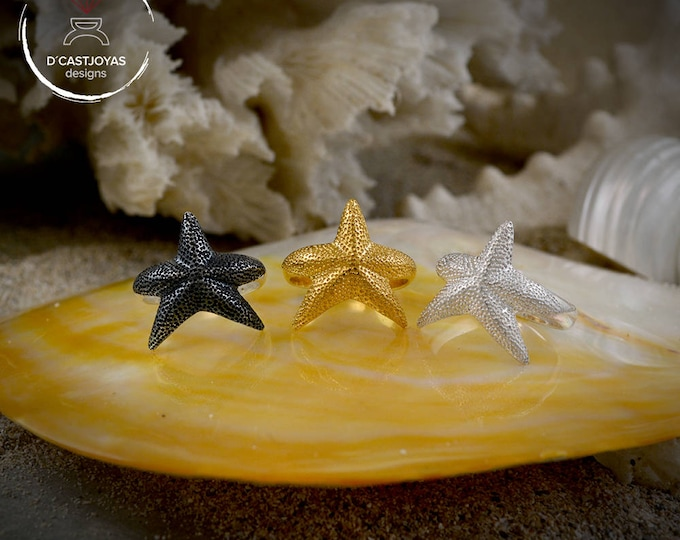 Five Point  Silver Star Ring, Silver Starfish ring, Gold starfish, Sea Jewelry, Handcrafted Ring, Boho Style, Unisex Jewelry, Ocean jewelry