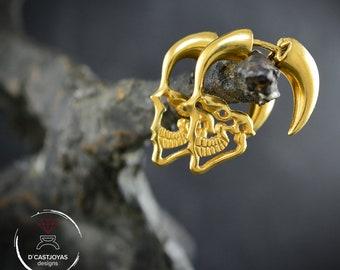 Gold plated Skull hoop earrings,Profile skull earrings