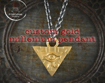 Personalized Millenium pyramid pendant in 10k gold, Reserved to E.C., First installment