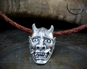 Sterling Silver Oni  japan mask pendant,  Hannya mask necklace, Silver pendant for men, Cool jewelry gift, Tattoo style, Biker jewelry