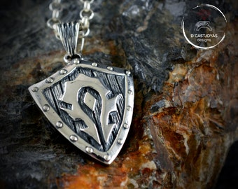 Sterling silver Horde shield pendant, Horde necklace for men
