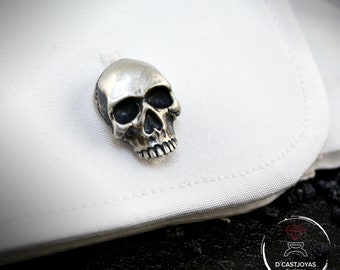 Sterling skull Cufflinks with oxidised textures, Cool Christmas gift, Men's Silver Cufflinks, Skull Cufflinks, Badass Jewelry, Biker jewelry