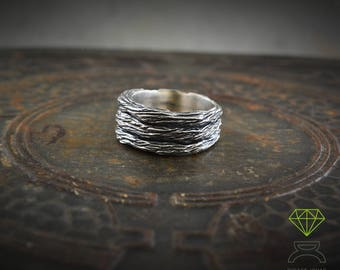 Rustic Silver Band ring, Oxidised black  silver ring, Band Ring for men, Original alliances, Sterling silver oxidised ring, Handmade rings