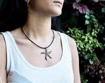Silver pendant coral starfish, Starfish pendant, Silver skeleton pendant, Pendant man, Sea jewelry, Boho style, Mother's Day Gift