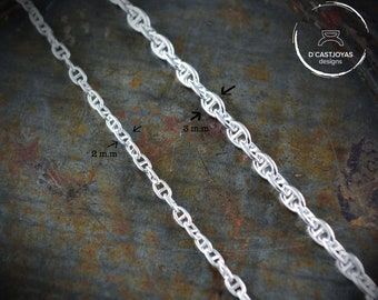 Marine forced solid silver chain, Oxidised marine silver chain