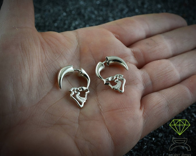 Sterling silver Skull Hoops, Men silver hoops, Memento Mori, Handmade skull, Punk jewelry, Gothic earrings, Halloween gift