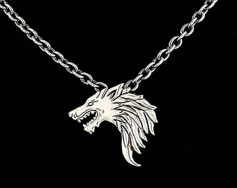 Sterling Viking Wolf pendant, Game of Thrones Wolf inspired, Halloween jewelry, Goth, Geek jewelry, Handmade pendant
