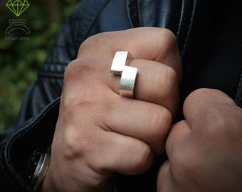 Geometric silver ring  Men silver ring  Rectangular ring Handmade ring Contemporary jewelry Urban style Cool man ring