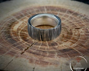 Oxidised Silver striped band ring, Reticulated rustic finish, Mens band ring, Valentine's Day gift, Alliances for men