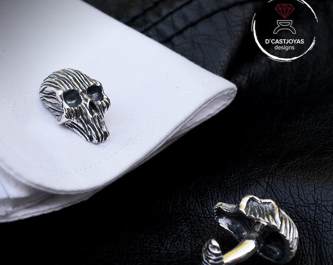 Skull cufflinks, Solid Sterling silver cufflinks, Skull cufflinks for men, Cool Christmas gift, Badass, Biker jewelry, Handcrafted