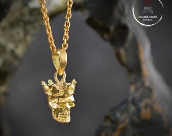 14k Gold small king skull pendant with natural gemstones, Gold skull with crown