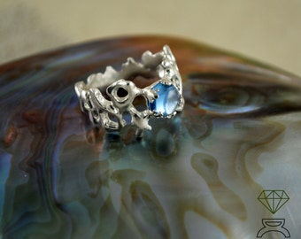 Silver Coral ring Coral, Silver statement ring,  Aquamarine engagement ring, Sea jewelry, Handmade Ring, Boho bride ring