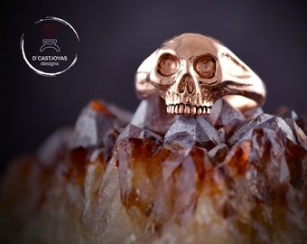 18k and 14k solid rose gold skull ring