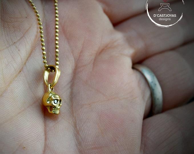 18k Gold tiny skull pendant, Natural black diamonds , Solid 18k gold skull, Handcrafted, Biker jewelry, Punk jewelry, Gothic bride