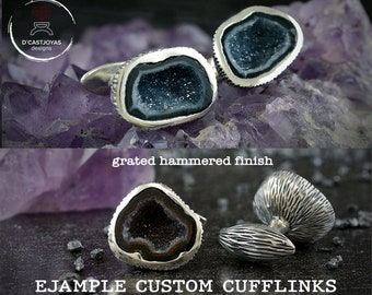 Unique custom Silver cufflinks with natural stone Tabasco Baby Geode