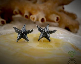 Starfish black silver earrings, Boho Star button earring, Hand crafted starfish, Sea jewelry, Gold plated star earrings