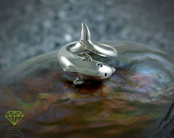 Silver dolphin ring Adjustable dolphin ring, Talisman silver ring  Boho style Sea jewelry Handcrafted ring Girlfriend gift Ocean jewelry