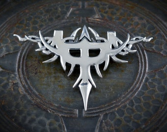 Silver brooch inspired by the Judas Priest symbol, Rock&Roll Jewellery, Personalized gift
