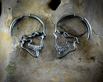 Silver Skull Earrings, Black Skulls Hoops Earrings Gothic bride jewelry Men earrings Gothic Jewelry, Cool Christmas gift