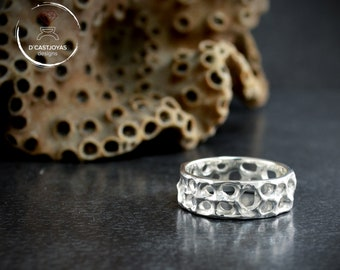 Rustic  silver  wedding band ring with holes, Sea organic ring