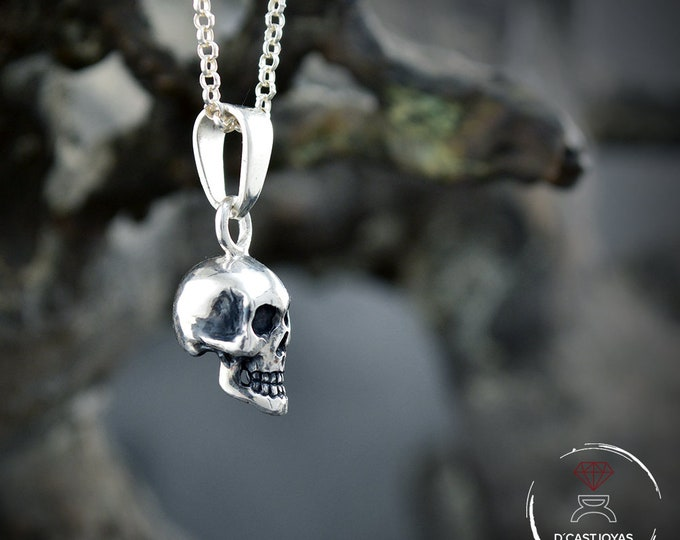 Sterling  skull pendant, Halloween jewelry, Pendant for men, Gothic jewelry, Memento mori, Handmade pendant, Punk style