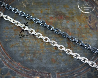 Diamond cut trace silver chain, Bevel Cable Chain Necklace,  Solid Sterling Silver thick chain, Oxidised rebel cable silver chain