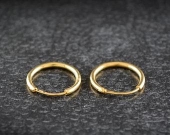 14k or 18k gold Hoop earrings handcrafted, Rose gold hoop earrings